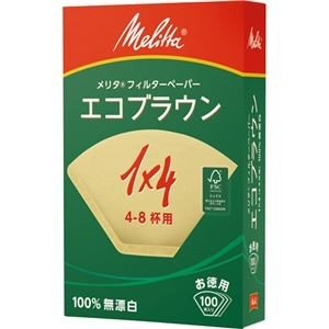(まとめ) メリタ エコブラウン 無漂白 1×4 4〜8杯用 PE-14GB 1箱(100枚) 〔×20セット〕 nijiiromarket