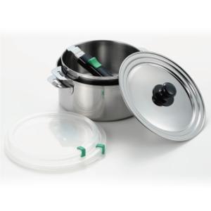 保存もできる鍋/調理器具 〔直径16cm&18cm 各1個〕 日本製 着脱ハンドル ガス IH対応 『ヨシカワ』 〔台所 キッチン〕|nijiiromarket