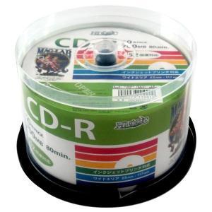 デ‐タ用CD-Rメディア52倍速 レーベル ワイドタイプ プリンタブル白50枚スピンドル 〔6個セット〕 HDCR80GP50-6P|nijiiromarket