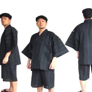 纏(まとい)織甚平 黒 L|nijiiromarket