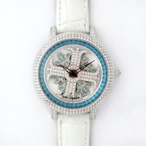 アンコキーヌ ネオ 40mm バイカラー ミニクロス シルバーベゼル インナーベゼルブルー ホワイトベルト アルバ 正規品(腕時計・グルグル時計)|nijiiromarket