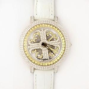 アンコキーヌ ネオ 40mm バイカラー ミニクロス シルバーベゼル インナーベゼルイエロー ホワイトベルト イール 正規品(腕時計・グルグル時計)|nijiiromarket