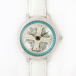 アンコキーヌ ネオ 40mm バイカラー ミニクロス シルバーベゼル インナーベゼルブルー ホワイトベルト イール 正規品(腕時計・グルグル時計)|nijiiromarket