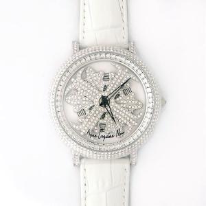 アンコキーヌ ネオ 45mm バイカラー ミニクロス シルバーベゼル インナーベゼルクリアー ホワイトベルト アルバ 正規品(腕時計・グルグル時計)|nijiiromarket