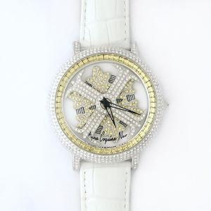 アンコキーヌ ネオ 45mm バイカラー ミニクロス シルバーベゼル インナーベゼルイエロー ホワイトベルト アルバ 正規品(腕時計・グルグル時計)|nijiiromarket