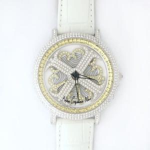 アンコキーヌ ネオ 45mm バイカラー ミニクロス シルバーベゼル インナーベゼルイエロー ホワイトベルト イール 正規品(腕時計・グルグル時計)|nijiiromarket