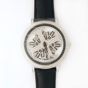 アンコキーヌ ネオ 45mm バイカラー ミニクロス シルバーベゼル インナーベゼルブラック ブラックベルト アルバ 正規品(腕時計・グルグル時計)|nijiiromarket