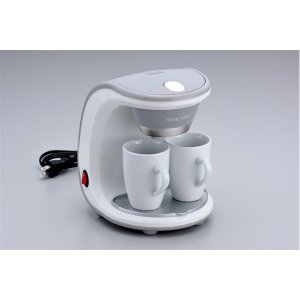 コーヒーメーカー 〔陶製マグカップ×2個付き〕 16.5cm×18cm×22cm フィルター 計量スプーン付き 『HOME SWAN』|nijiiromarket