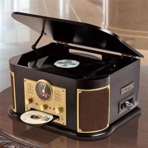 マルチレコードプレーヤー/CDプレーヤー 〔幅44.5cm〕 木製 リモコン EPアダプター 交換用レコード針1本付き 〔寝室 リビング〕|nijiiromarket