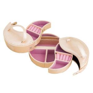 ジュエリーボックス/宝石箱 〔丸型〕 引き出し収納付き TR2119 ピンク|nijiiromarket