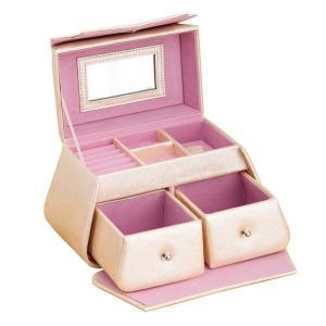 ジュエリーボックス/宝石箱 〔バッグ型〕 ミラー/引き出し収納付き TR2118 ピンク|nijiiromarket