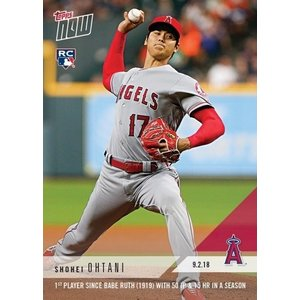 2018 TOPPS NOW #678 大谷翔平 1st PLAYER SINCE BABE RUTH(1919) WITH 50 IP&15 HR IN A SEASON|niki