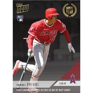 2018 TOPPS NOW #MOY-2 大谷翔平 FIRST CAREER HIT COMES IN FIRST AT-BAT OF MLB DEBUT|niki