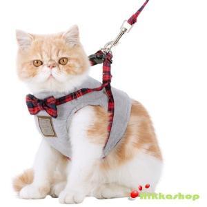 猫用 ハーネス リード セット(XS-Mサイズ)胴輪 胸当て ベスト 簡単装着 お散歩 お出掛け 可愛い キャットウェア 猫具  メール便送料無料|nikkashop