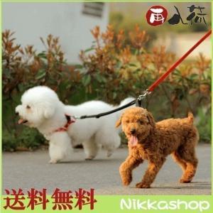 犬 リード 2頭引き ダブルリード ナイロンカラー(ブラック/レッド/ブルー) メール便送料無料