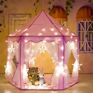 6角キッズテント 3-8歳 可愛い子供テント 室内 室外でも  収納バッグ付き おもちゃ 子供用ティピー 室内 室外 キッズハウス おもちゃ収納 ギフト プリンセス