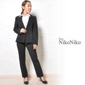 2点セット スーツセットアップ ジャケット パンツ ブラック 大きいサイズ 小さいサイズ Sから4L 入学式 卒業式 レディース 即納|nikonikoshoes