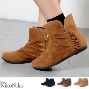 フリンジムートンブーツ 即納 シューズ 靴 ムートン ブーツ フリンジ 裏起毛 起毛 もこもこ 温かい 防寒 レディース|nikonikoshoes