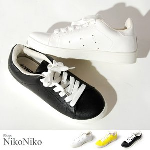 レザータッチスニーカー 即納 靴 スニーカー 紐靴 キャンバス レディース nikonikoshoes