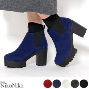 サイドゴア ブーツ ショートブーツ  アウトレット 即納  ハイヒール レディース チャンキーヒール|nikonikoshoes