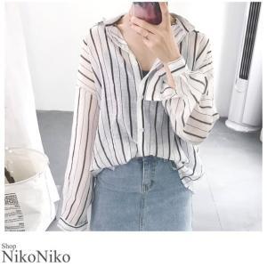 薄手ストライプシャツ ma 即納  トップス シャツ レディース 薄手 ストライプ ストライプシャツ 週末エントリーでポイント10倍 nikonikoshoes