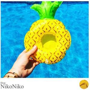 ドリンクホルダー パイナップル ma 即納  ビーチグッズ 浮き輪|nikonikoshoes
