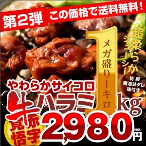 500g×2パック!特製醤油甘ダレ仕込!やわらかサイコロ 牛ハラミ メガ盛り1キロ 便利な小分け包装 送料無料 食品 牛肉 焼き肉 バーベキュー bbq|niku-donya