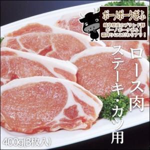 ボーノポークぎふ ロース肉 ステーキ・カツ用 400g 3枚入  国産豚肉 岐阜 特産|nikunohiguchi-yafuu