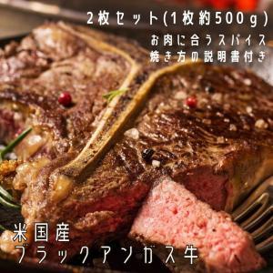 T&Lボーンステーキ 2枚セット(各1枚) 米国産ブラックアンガス牛 スパイス・焼き方の説明書付き ...