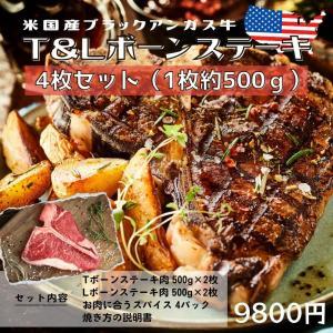 T&Lボーンステーキ 4枚セット(各2枚)米国産ブラックアンガス牛 スパイス・焼き方の説明書付き 今...