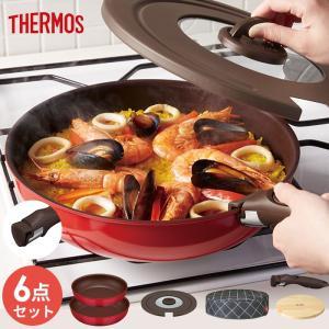 サーモス フライパン 6点セット ガス IH 取っ手 とれる フライパン オーブン 食洗器OK 26cm 28cm 専用取っ手 専用フタ 木製プレート付き 保温カバー p1|nikurasu