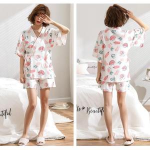 レディース パジャマ  半袖 上下セット 夏用浴衣 短パン 夏服 かわいい 寝間着 ルームウェア 部...