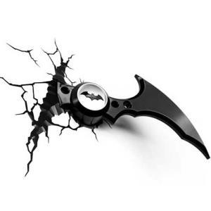 BATMAN Batarang 3D Deco Light バットマン 3Dデコライト バタラング ひび割れステッカー ウォールライト LED 照明 壁ライト nineselect
