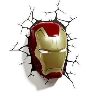 Iron Man 3 Mask 3D Deco Light アイアンマン3 3Dデコライト マスク ひび割れステッカー ウォールライト LED 照明 壁ライト 立体 アメコミ MARVEL nineselect