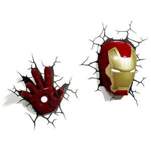 Iron Man 3 3D Deco Light Mask & Hand SET アイアンマン3 3Dデコライト マスク ハンド セット ひび割れステッカー ウォールライト LED nineselect