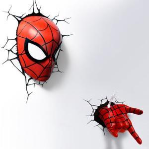 Spider Man 3D Deco Light Mask & Hand SET スパイダーマン 3Dデコライト マスク ハンド セット ひび割れステッカー ウォールライト LED|nineselect