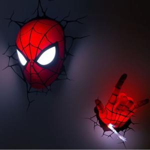 Spider Man 3D Deco Light Mask & Hand SET スパイダーマン 3Dデコライト マスク ハンド セット ひび割れステッカー ウォールライト LED|nineselect|02