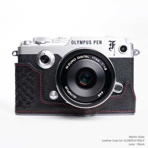 Martin Duke Italian Leather Camera Body Case for OLYMPUS PEN-F Black おしゃれ 本革 イタリアンレザー カメラケース|nineselect