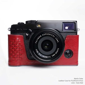 Martin Duke Italian Leather Camera Body Case for FUJIFILM X-Pro2 Dark Red おしゃれ 本革 イタリアンレザー カメラケース|nineselect