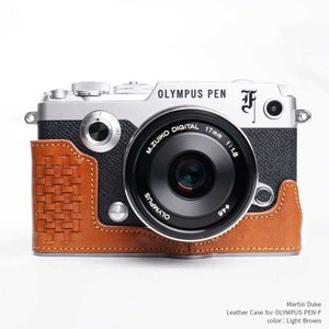 Martin Duke Italian Leather Camera Body Case for OLYMPUS PEN-F Light Brown おしゃれ 本革 イタリアンレザー カメラケース|nineselect
