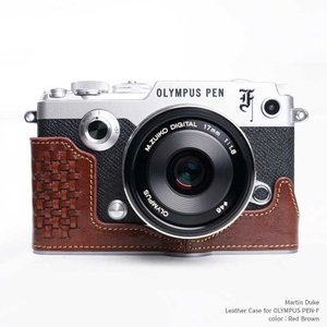 Martin Duke Italian Leather Camera Body Case for OLYMPUS PEN-F Red Brown おしゃれ 本革 イタリアンレザー カメラケース|nineselect