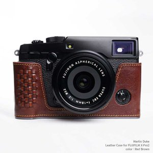 Martin Duke Italian Leather Camera Body Case for FUJIFILM X-Pro2 Red Brown おしゃれ 本革 イタリアンレザー カメラケース|nineselect