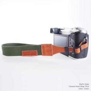 『クリックポストOK!』Martin Duke Camera Hand Strap TELA DH21GR Green グリーン おしゃれ ハンドストラップ リストストラップ コットン イタリアンレザー|nineselect