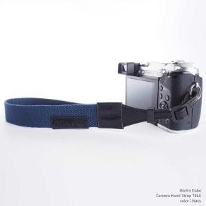『クリックポストOK!』Martin Duke Camera Hand Strap TELA DH21NV Navy ネイビー おしゃれ ハンドストラップ リストストラップ コットン イタリアンレザー|nineselect