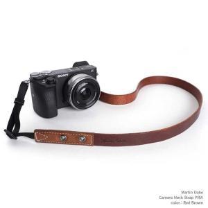 Martin Duke Camera Neck Strap PRVI personality DN33RB Red Brown おしゃれ カメラネックストラップ カメラストラップ 本革 牛革 レザー|nineselect
