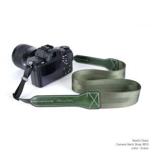Martin Duke Camera Neck Strap REIS DN41OG Green グリーン おしゃれ カメラネックストラップ カメラストラップ ナイロン イタリアンレザー|nineselect