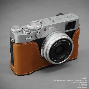 LIM'S FUJIFILM X100V 専用 イタリアンレザー カメラケース Brown ブラウン おしゃれ メタルプレート リムズ 日本正規販売店 FJ-X100VBR nineselect