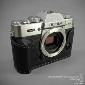 LIM'S リムズ Italian MINERVA BOX Genuine Leather Half Case for FUJIFILM X-T30 FJ-XT30BK Black フジフイルム 本革 カメラケース|nineselect