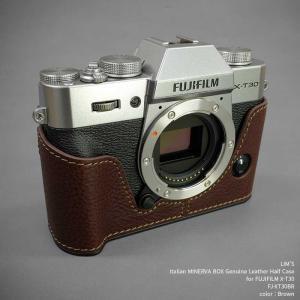 LIM'S リムズ Italian MINERVA BOX Genuine Leather Half Case for FUJIFILM X-T30 FJ-XT30BR Brown フジフイルム 本革 カメラケース|nineselect