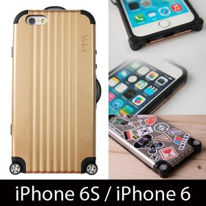 『クリックポストOK!』Velei RIMOWA(リモワ) スーツケース風 iPhone6S/iPhone6 用ケース カスタムステッカー付き CHAMPAGNE GOLD(シャンパン ゴールド)|nineselect